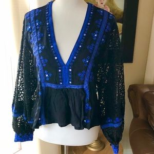 Free People Black Balloon Puff Lace Sequin Blouse